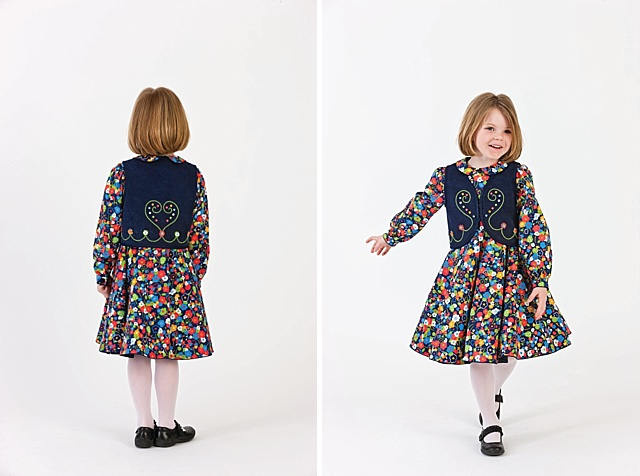 Navy Floral Dress and Embroidered Vest - Classic Sewing