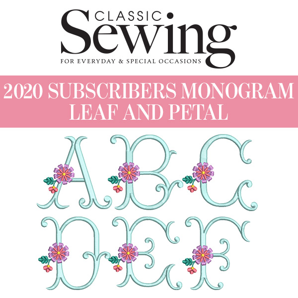 Classic Sewing 2020 Subscribers Monogram Set - Leaf and Petal