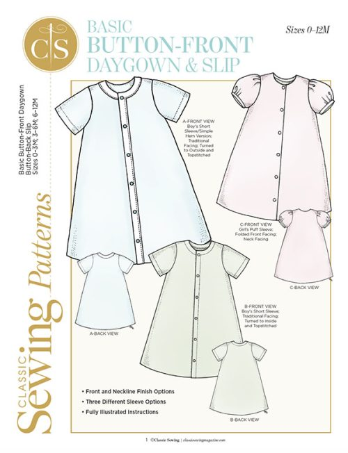 button front daygown classic sewing